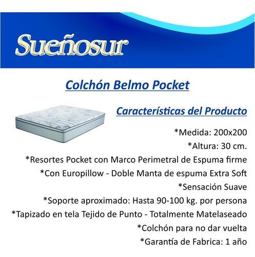 colchon belmo pocket resortes king size 200x200x30