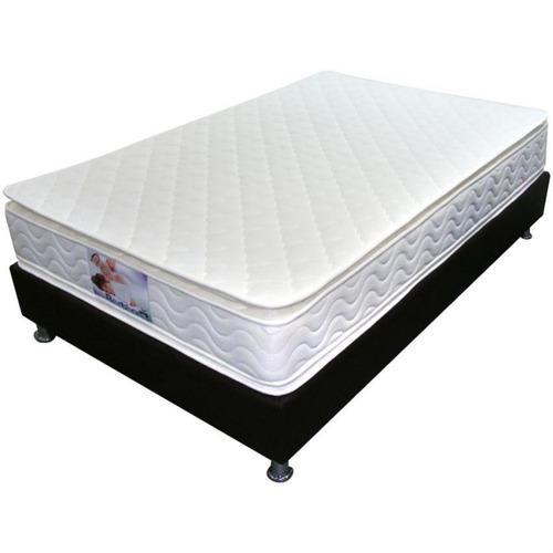 colchón bronce resortado pillow top semidoble 120 x 190 x 24