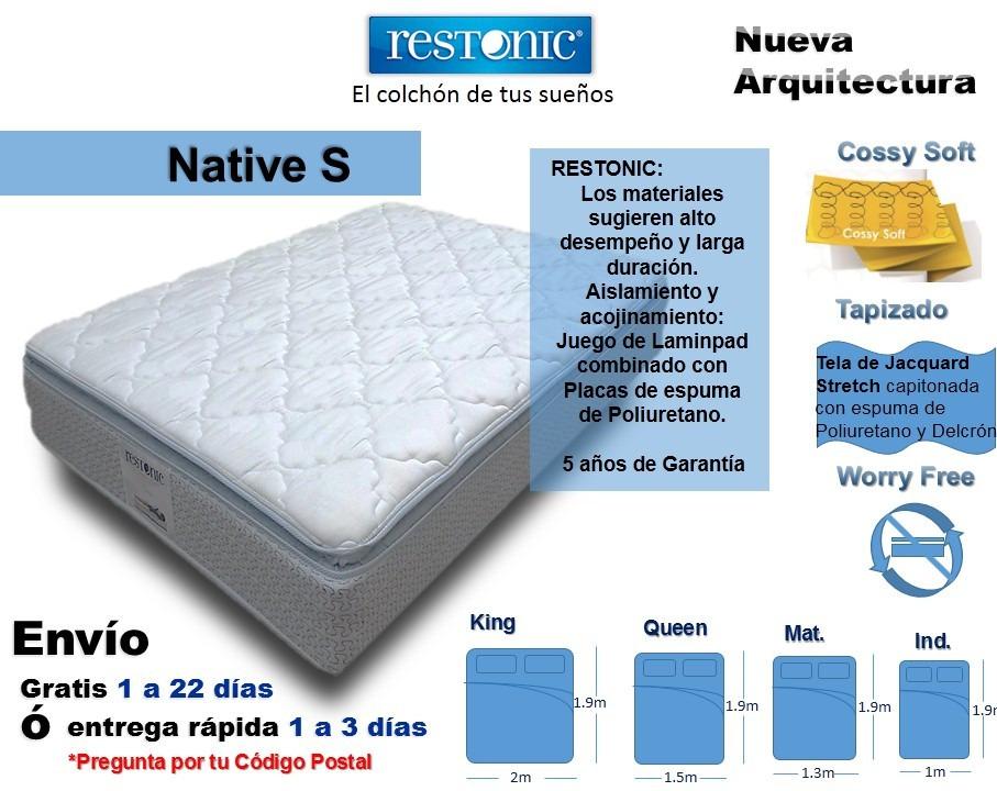 colch n para cama individual native env o gratis restonic