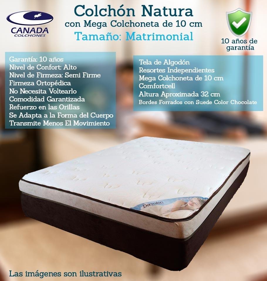 Colchón Canadá Natura Matrimonial + Box   $ 6,390.00 en Mercado Libre