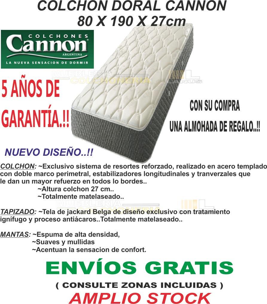 Colchon Cannon Doral 80x190x27 Jackard + 1 Almohada Regalo ...