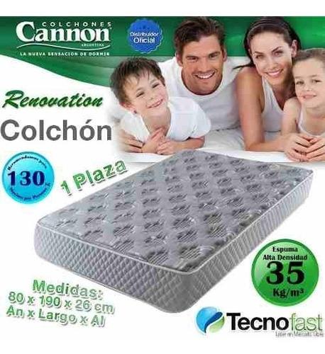 colchon cannon espuma renovation 80x190 35kg + caba gratis