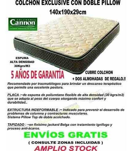colchon cannon exclusive doble pillow 140x190 cuotas sin int