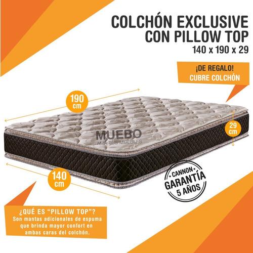 colchon cannon exclusive doble pillow 140x190 stock cuotas*