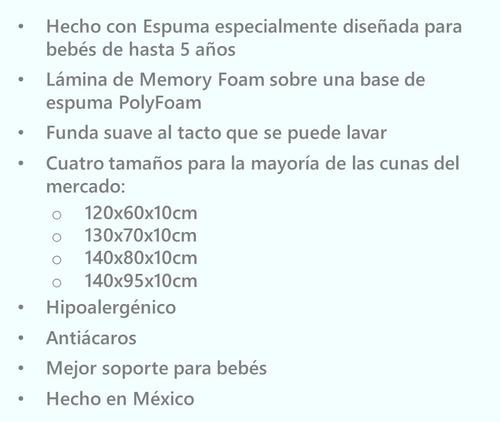 colchón cuna bebe baby better memory foam 140x95