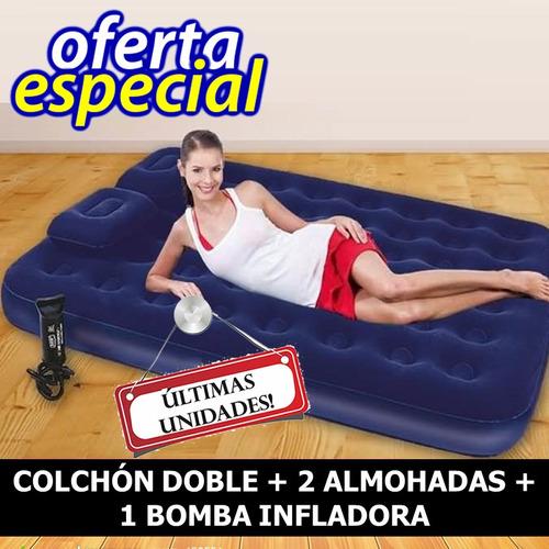 colchon doble inflable + 2 almohadas + bomba infladora