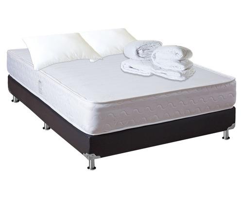 colchón fortaleza+base+lencería doble 140x190 (extra firme)