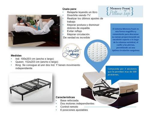 colchon individual cn memory foam con base d cama articulada