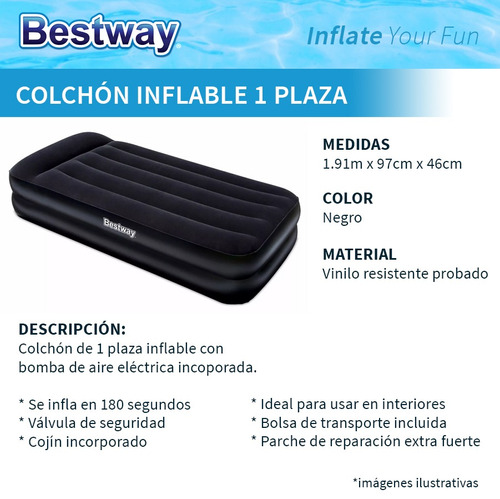 colchon inflable 1 plaza bestway con inflador electrico