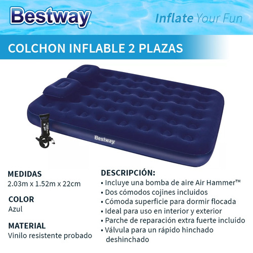 colchon inflable 2 plazas bestway con inflador