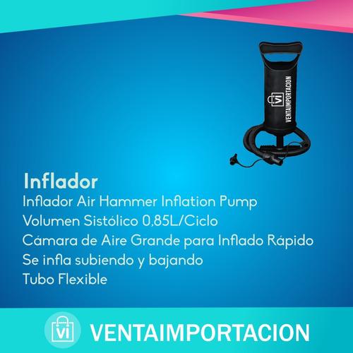 colchon inflable 2 plazas reforzado + inflador reforzado ext