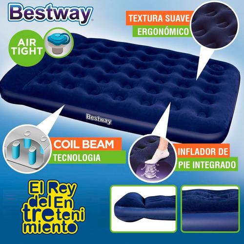 colchon inflable bestway 2p c/ inflador + 2 almohadas el rey