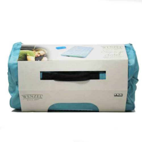 colchón inflable c/bomba queen stow-n-go aqua wenzel 8227116