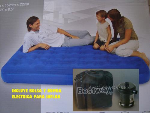 colchon inflable con bomba electrica y bolsa