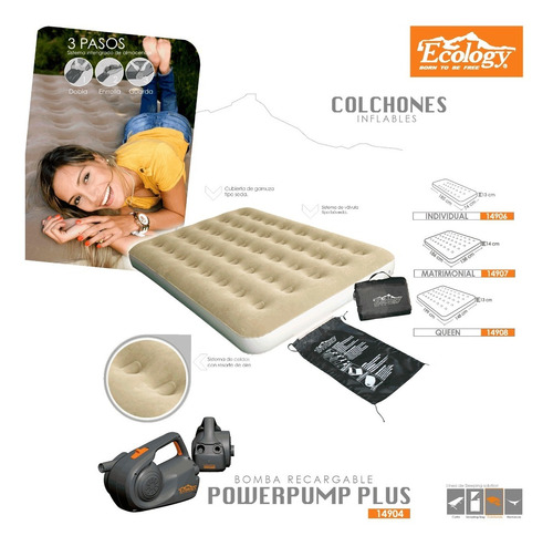 colchón inflable individual bolso y kit reparación ecology