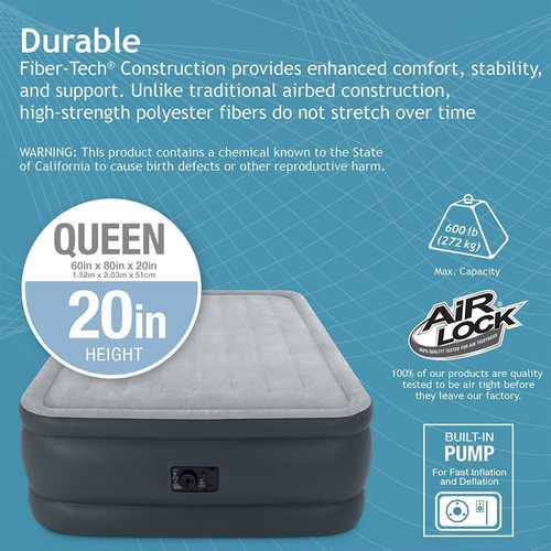 colchon inflable queen intex durabeam doble altura 56cm