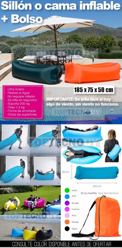 colchon inflable sillon sofa airbag lazy bag facil de inflar