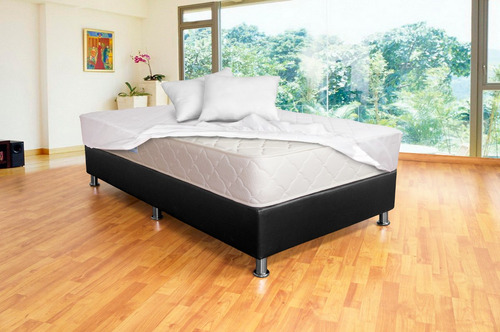colchón litium resortado 100x190 + base+ protector+ almohada