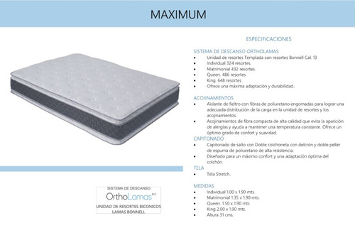 colchon maximum queen size - gris y blanco këssa muebles