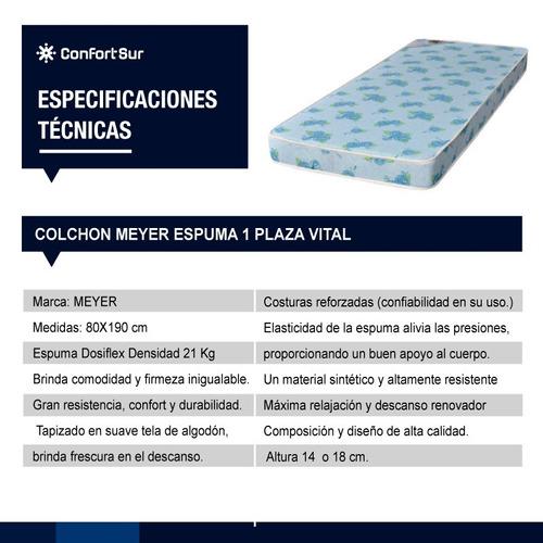 colchón meyer espuma 1 plaza vital 190x80x18 21kg **6