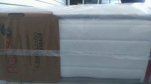 colchón paraíso antiacaros 2 plazas + 2 almohadas + entrega