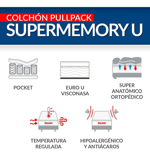 colchón pullman pullpack supermemory u doble 140x190