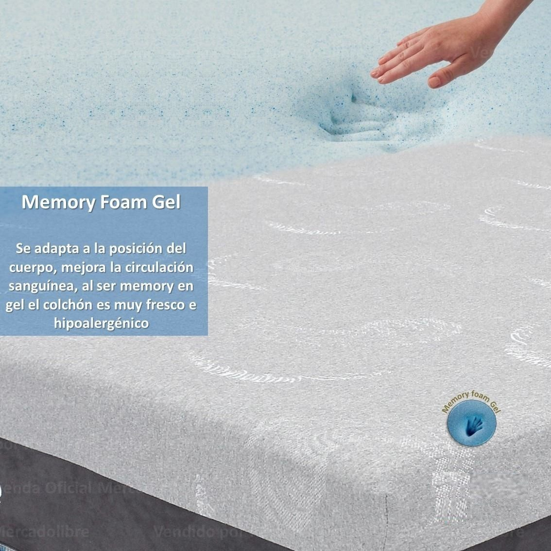 Colchon Y Box Queen Size Memory Foam Gel Care Cool Restonic