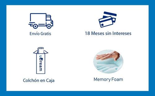 colchón queen size udream memory foam gel en caja kool