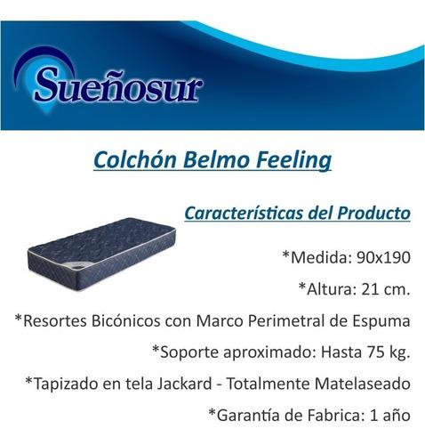 colchon resortes belmo feeling 1 plaza 1/2 90x190x21