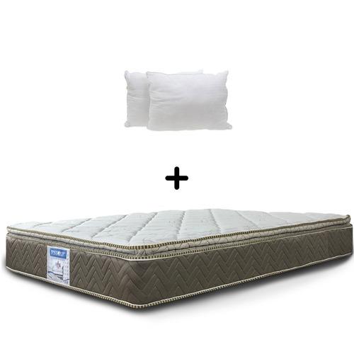 colchón restonic matrimonial ortopédico lego + 2 almohadas