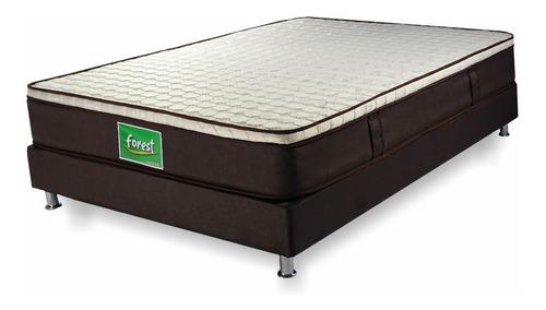 colchón semidoble forest + base cama + lencería - 120 x 190