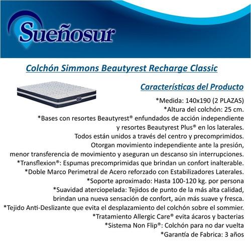colchon simmons beautyrest classic 2 plazas 140x190