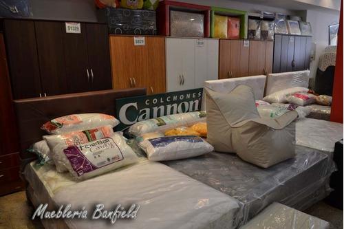 colchón + sommier cannon doral con pillow queen 1.60 x 2.00
