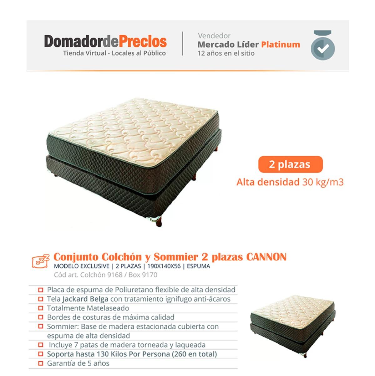 89afaec84e9 Colchon Y Sommier Cannon Exclusive 2 Plazas 30 Kg Alta Dens ...