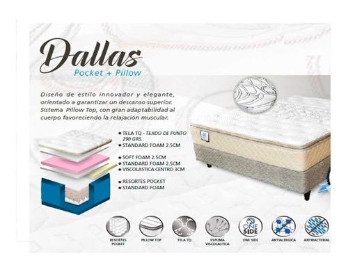 colchón sommier dallas sealy 140x190 pocket+viscoelástico