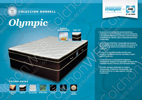 colchón sommier olympic 160x200 resorte bicónicos +almohadas