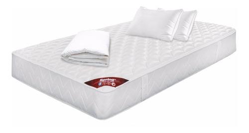 colchon spring classic semidoble 120x190+protector+almohadas