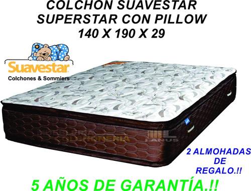 colchon suavestar superstar doble pillow 140x190 envios s/c