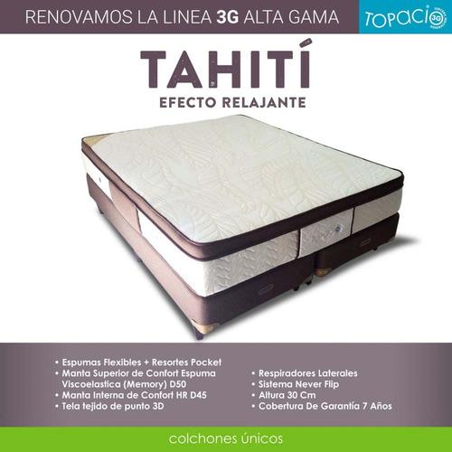 colchón  topacio 3g tahití c/pillow viscoelástico 140 x 190