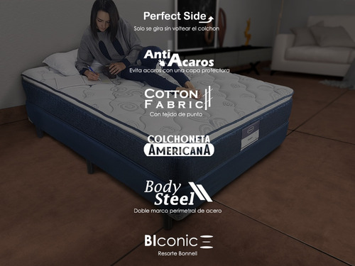 colchon y box america aspen queen size + almohadas buen fin