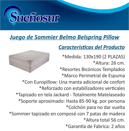 colchon y sommier 2 plazas belmo belspring pillow 130x190