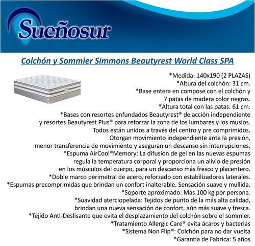 colchon y sommier beautyrest world class spa 140x190