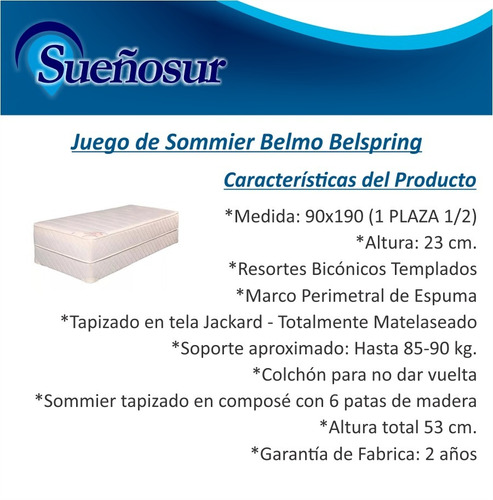colchon y sommier belmo belspring 1 plaza 1/2 90x190