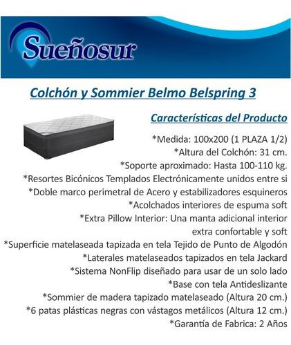 colchón y sommier belmo belspring 3 - 1 plaza 1/2 - 100x200
