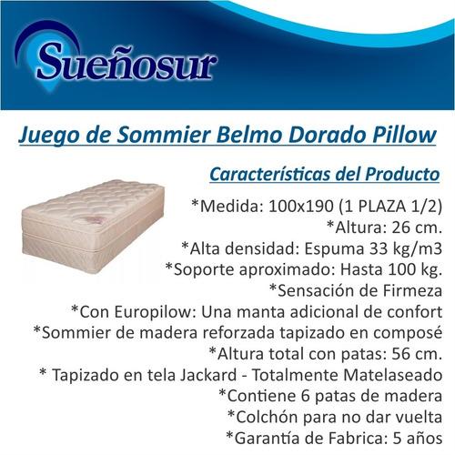 colchon y sommier belmo dorado pillow 1 plaza 1/2 100x190