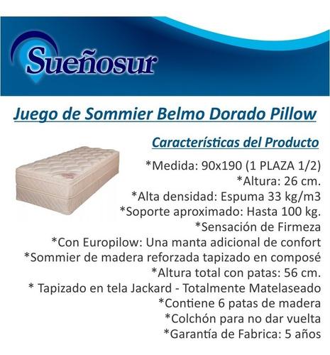 colchon y sommier belmo dorado pillow 1 plaza 1/2 90x190