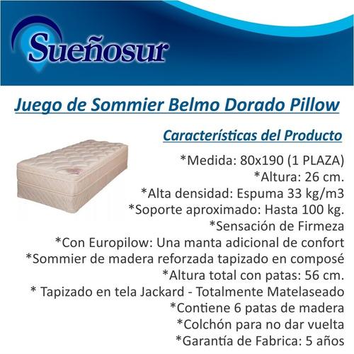 colchon y sommier belmo dorado pillow 1 plaza  80x190