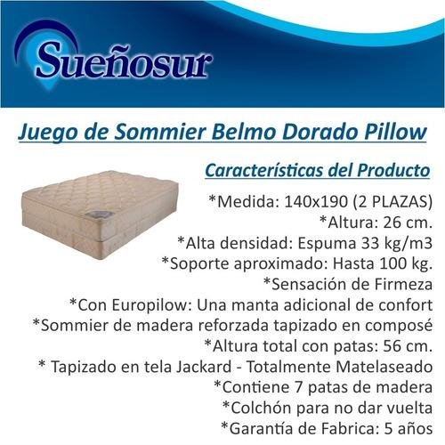 colchon y sommier belmo dorado pillow 2 plazas 140x190