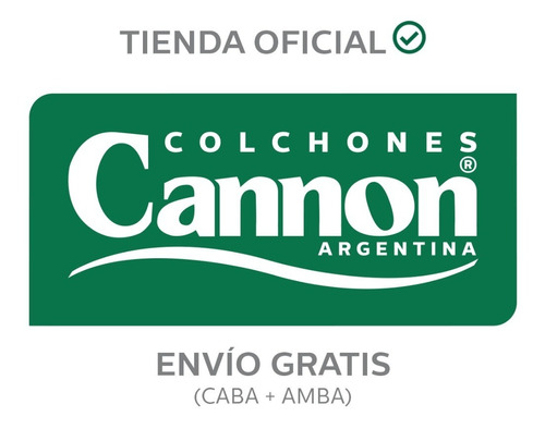 colchón y sommier cannon platino 1 1/2 plaza 190x100