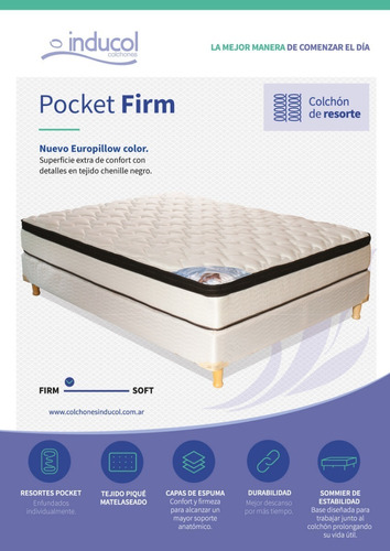 colchon y sommier pocket firm inducol 180x200